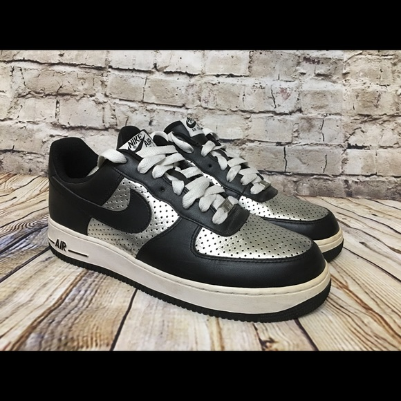 Nike Shoes Air Force One Black And Silver Rare Poshmark